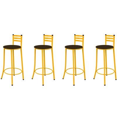 Kit 04 Banquetas Altas com Encosto Amarelo e Assento Marrom Escuro - Marcheli