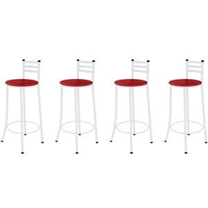 Kit 04 Banquetas Altas com Encosto Branco com Assento Vermelho - Marcheli