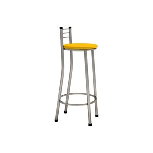 Kit 04 Banquetas Altas com Encosto Cromado e Assento Amarelo - Marcheli