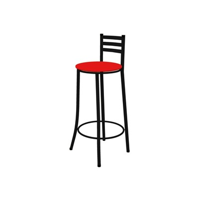 Kit 04 Banquetas Altas com Encosto Preto com Assento Vermelho - Marcheli