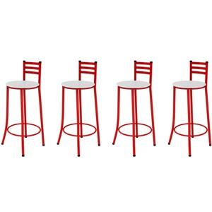 Kit 04 Banquetas Altas com Encosto Vermelho e Assento Branco - Marcheli