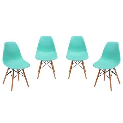Kit 04 Cadeiras Eiffel Charles Eames Azul Tiffany com Base de Madeira DSW