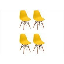 Kit 04 Cadeiras Eiffel Charles Eames em ABS Amarela com Base de Madeira DSW