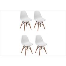 Kit 04 Cadeiras Eiffel Charles Eames em ABS Branca com Base de Madeira DSW