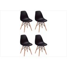 Kit 04 Cadeiras Eiffel Charles Eames em ABS Preta com Base de Madeira DSW