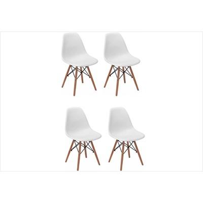 Kit 04 Cadeiras Eiffel Charles Eames F01 Branca Base de Madeira DSW - Mpozenato