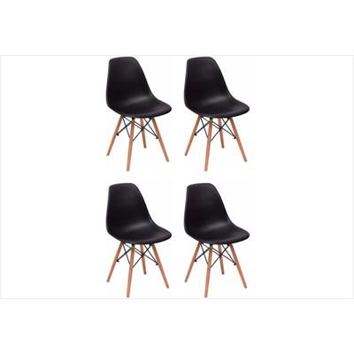 Kit 04 Cadeiras Eiffel Charles Eames F01 Preta Base de Madeira DSW - Mpozenato