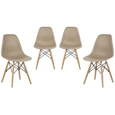 Kit 04 Cadeiras Eiffel Charles Eames Nude com Base de Madeira - Mpozenato