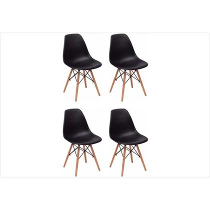 Kit 04 Cadeiras Eiffel Charles Eames Preta com Base de Madeira DSW
