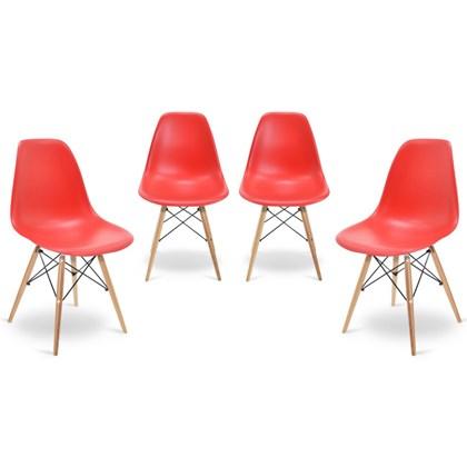 Kit 04 Cadeiras Eiffel Charles Eames Vermelho com Base de Madeira - Mpozenato