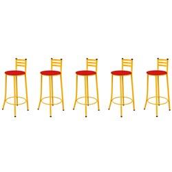Kit 05 Banquetas Altas com Encosto Amarelo e Assento Vermelho - Marche
