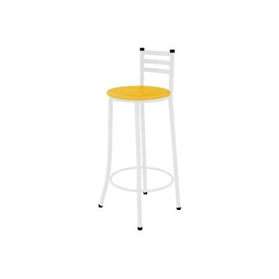 Kit 05 Banquetas Altas com Encosto Branco e Assento Amarelo - Marcheli