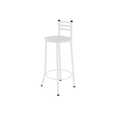 Kit 05 Banquetas Altas com Encosto Branco e assento Branco - Marcheli