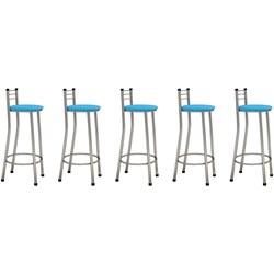 Kit 05 Banquetas Altas com Encosto Cromado e Assento Azul - Marcheli