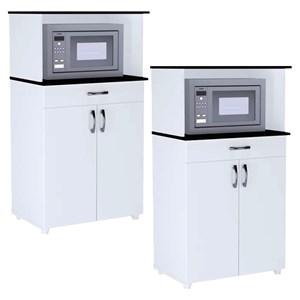 Kit 2 Balcões Multiuso para Cozinha 2 Portas Carina Branco/Preto - AJL Móveis