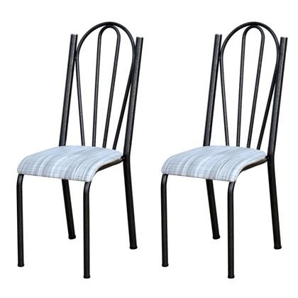 Kit 2 Cadeiras 021 América Cromo Preto/Linho - Artefamol