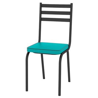 Kit 2 Cadeiras 118 Europa Preto/Azul Turquesa - Artefamol