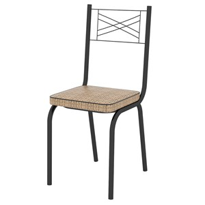 Kit 2 Cadeiras 119 Europa Preto/Rattan - Artefamol