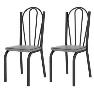 Kit 2 Cadeiras 121 Europa Preto/Platina - Artefamol