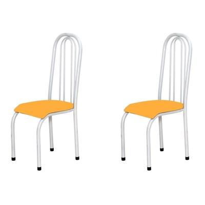 Kit 2 Cadeiras Altas 0.123 Anatômica Branco/Laranja - Marcheli