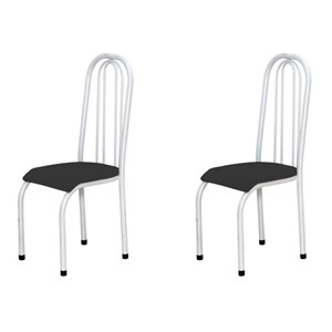 Kit 2 Cadeiras Altas 0.123 Anatômica Branco/Preto - Marcheli