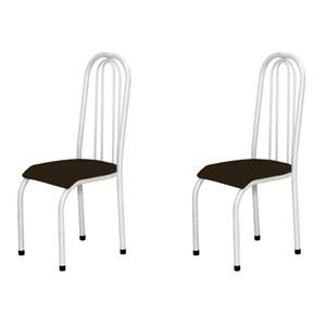 Kit 2 Cadeiras Altas 0.123 Anatômica Branco/Tabaco - Marcheli