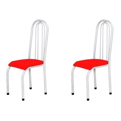 Kit 2 Cadeiras Altas 0.123 Anatômica Branco/Vermelho - Marcheli