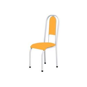 Kit 2 Cadeiras Anatômicas 0.122 Estofada Branco/Laranja - Marcheli