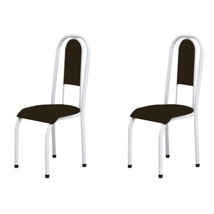 Kit 2 Cadeiras Anatômicas 0.122 Estofada Branco/Marrom - Marcheli