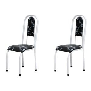 Kit 2 Cadeiras Anatômicas 0.122 Estofada Branco/Preto Floral - Marcheli