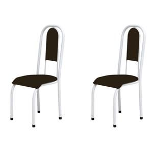 Kit 2 Cadeiras Anatômicas 0.122 Estofada Branco/Tabaco - Marcheli