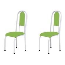 Kit 2 Cadeiras Anatômicas 0.122 Estofada Branco/Verde - Marcheli