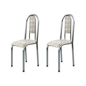 Kit 2 Cadeiras Anatômicas 0.122 Estofada Cromado/Bege - Marcheli