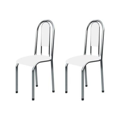 Kit 2 Cadeiras Anatômicas 0.122 Estofada Cromado/Branco - Marcheli