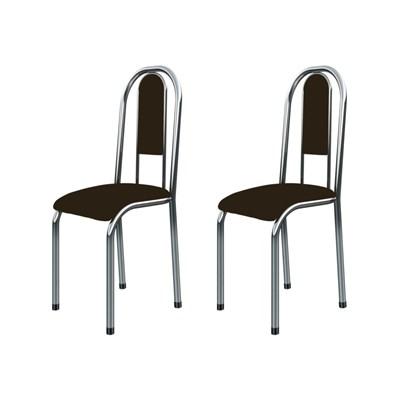 Kit 2 Cadeiras Anatômicas 0.122 Estofada Cromado/Marrom Escuro - Marcheli