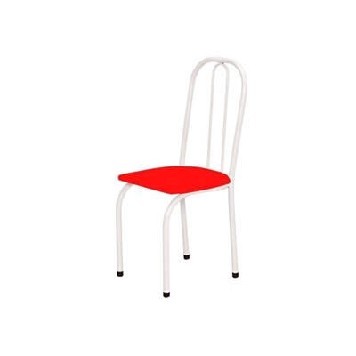 Kit 2 Cadeiras Baixas 0.101 Assento Reto Branco/Vermelho - Marcheli