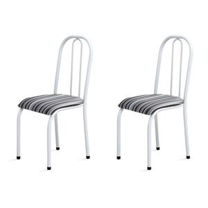Kit 2 Cadeiras Baixas 0.104 Anatômica Branco/Listrado - Marcheli