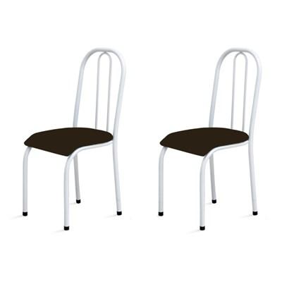 Kit 2 Cadeiras Baixas 0.104 Anatômica Branco/Marrom Escuro - Marcheli