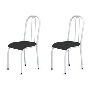 Kit 2 Cadeiras Baixas 0.104 Anatômica Branco/Preto - Marcheli