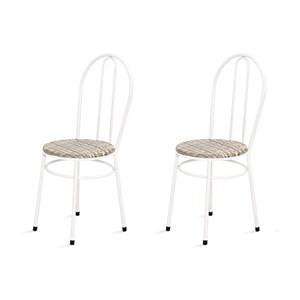 Kit 2 Cadeiras Baixas 0.134 Redonda Branco/Bege - Marcheli