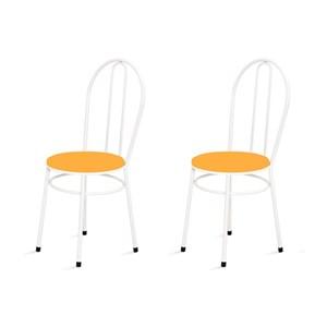 Kit 2 Cadeiras Baixas 0.134 Redonda Branco/Laranja - Marcheli
