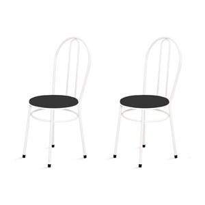 Kit 2 Cadeiras Baixas 0.134 Redonda Branco/Preto - Marcheli