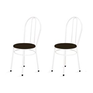 Kit 2 Cadeiras Baixas 0.134 Redonda Branco/Tabaco - Marcheli