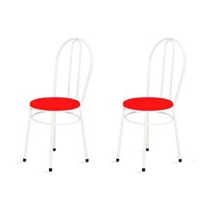 Kit 2 Cadeiras Baixas 0.134 Redonda Branco/Vermelho - Marcheli