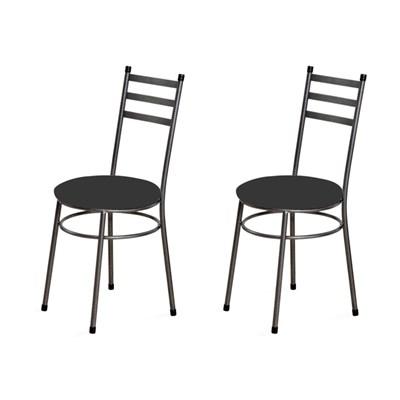 Kit 2 Cadeiras Baixas 0.135 Redonda Craqueado/Preto - Marcheli