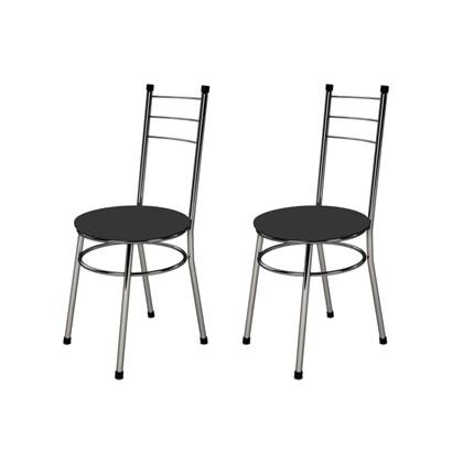 Kit 2 Cadeiras Baixas 0.236 Redonda Cromado/Preto - Marcheli