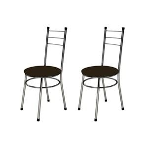 Kit 2 Cadeiras Baixas 0.236 Redonda Cromado/Tabaco - Marcheli