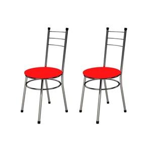 Kit 2 Cadeiras Baixas 0.236 Redonda Cromado/Vermelho - Marcheli