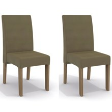 Kit 2 Cadeiras CAD107 para Sala de Jantar Nogal/Capuccino - Kappesberg