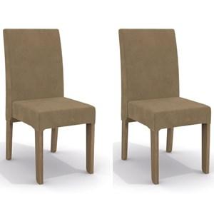 Kit 2 Cadeiras CAD107 para Sala de Jantar Nogal/Caramelo - Kappesberg